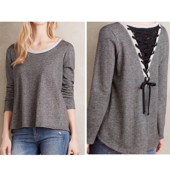 96bb095a489a5 Anthropologie Tops | Everleigh Lace Up Back Sweatshirt | Poshmark